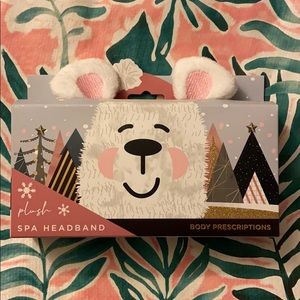 Polar Bear Ears Plush Spa Headband NWT NIB